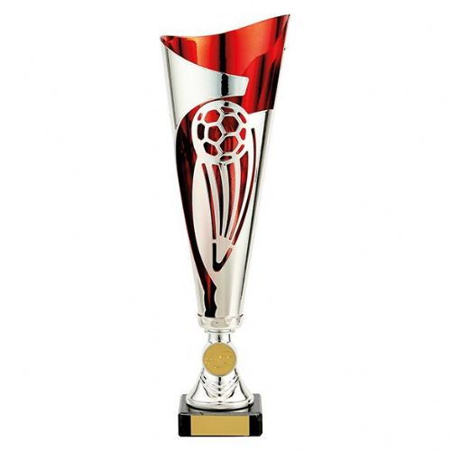 Champions Football Cup Silver & Red 325mm